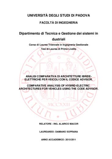 Analisi comparativa di architetture ibride-elettriche per i veicoli con il