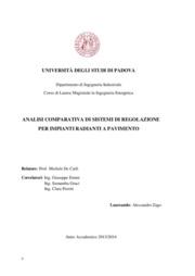 Analisi comparativa di sistemi di regolazione per impianti radianti a