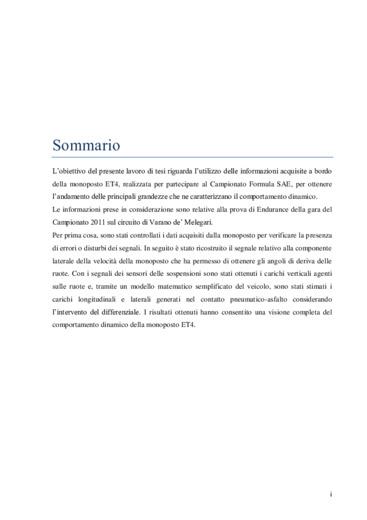 Analisi dei dati di telemetria della monoposto ET4 Formula SAE