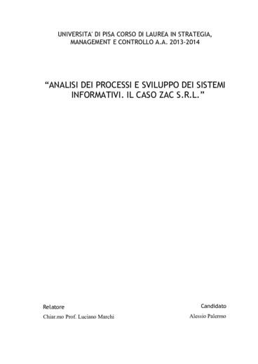Analisi dei processi aziendali e sviluppo dei sistemi informativi: il
