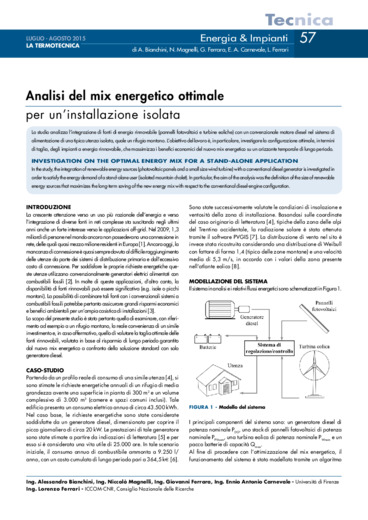 Analisi del mix energetico ottimale per un'installazione isolata