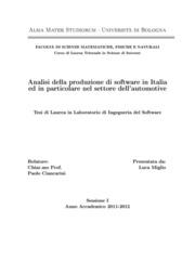 Analisi della produzione di software in Italia ed in particolare