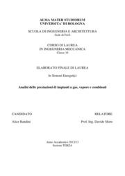 Analisi delle prestazioni di impianti a gas, vapore e combinati