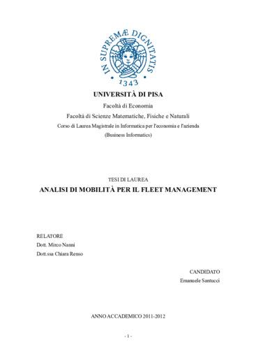 Analisi di mobilità per il fleet management