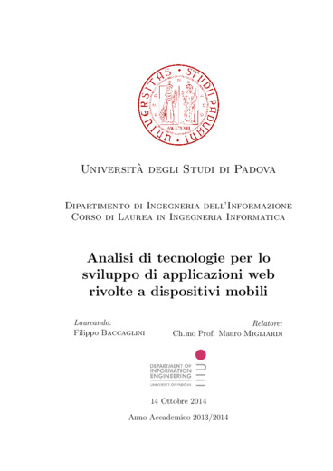 Analisi di tecnologie per lo sviluppo di applicazioni web rivolte