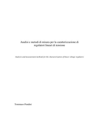 Analisi e metodi di misura per la caratterizzazione di regolatori