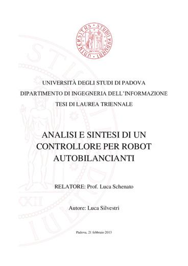 Analisi e sintesi di un controllore per robot  autobilancianti