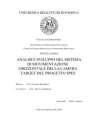 Analisi e sviluppo del sistema di movimentazione orizzontale della camera