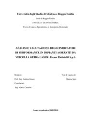 Analisi e valutazione degli indicatori di performance in impianti a