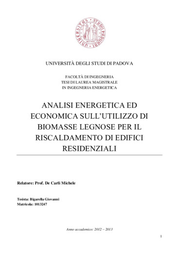 Analisi energetica ed economica sull