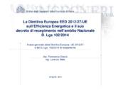 Analisi generale della Direttiva Europea UE 2012/27 e del D.