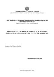 Analisi metallografiche e prove di durezza su simulacri di anelli