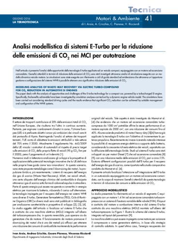 Analisi modellistica di sistemi E-Turbo per la riduzione delle emissioni