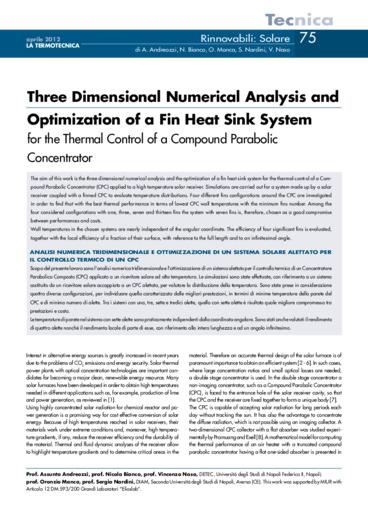 Analisi numerica tridimensionale e ottimizzazione di un sistema solare alettato