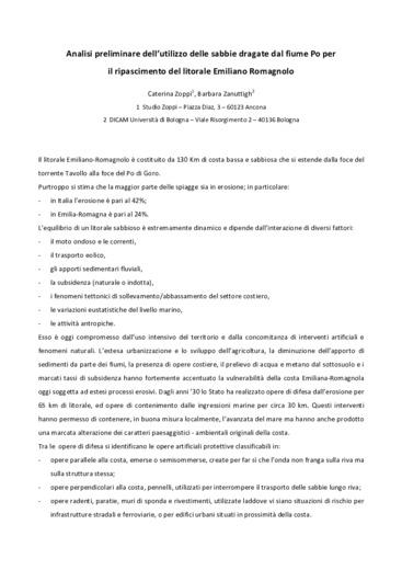 Analisi preliminare dell'utilizzo delle sabbie dragate dal fiume Po per