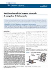 Analisi sperimentale del processo industriale di asciugatura di filati su