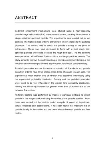 Analisi sperimentale sulla probabilità di erosione e di trasporto delle