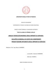 Analisi tecnico-economica di impianti di servizio: sviluppo di modelli di