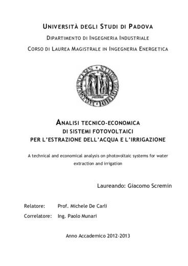 Analisi tecnico-economica di sistemi fotovoltaici per l'estrazione dell'acqua e l'irrigazione
