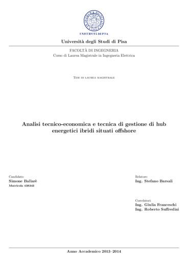 Analisi tecnico-economica e tecnica di gestione di hub energetici ibridi