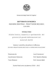 Analisi teorica, numerica e sperimentale dei processi di grandi deformazioni