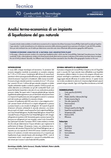 Analisi termo-economica di un impianto di liquefazione del gas naturale