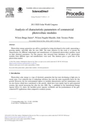 Analysis of characteristic parameters of commercial photovoltaic modules