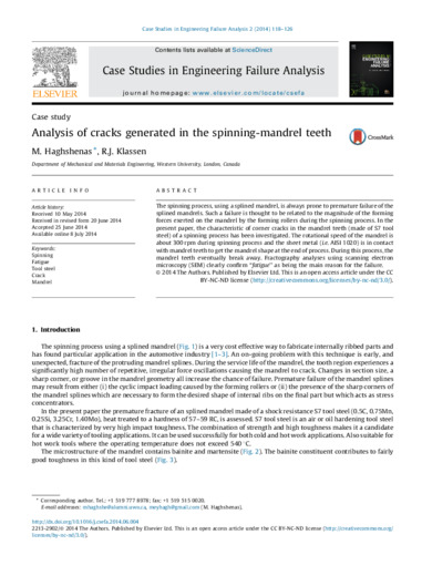 Analysis of cracks generated in the spinning-mandrel teeth