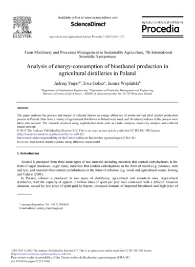 Analysis of energy-consumption of bioethanol production in agricultural distilleries in