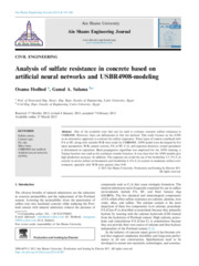 Analysis of sulfate resistance in concrete based on artificial neural