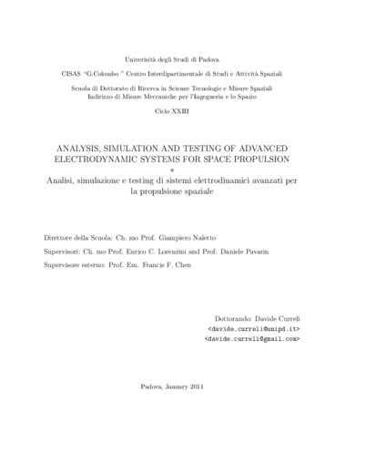 Analysis, simulation and testing of advanced electrodynamic systems for space
