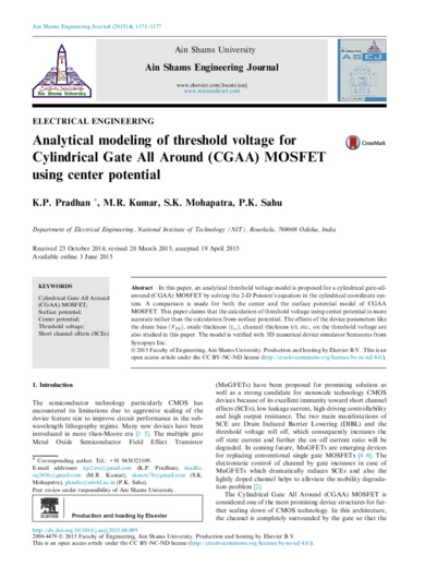 Analytical modeling of threshold voltage for cylindrical gate all around