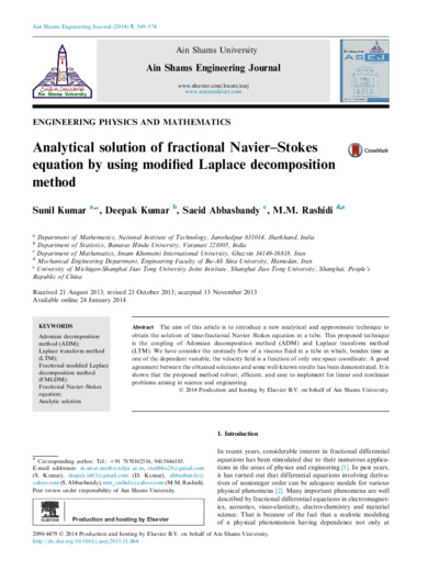 Analytical solution of fractional Navier–Stokes equation by using modified Laplace