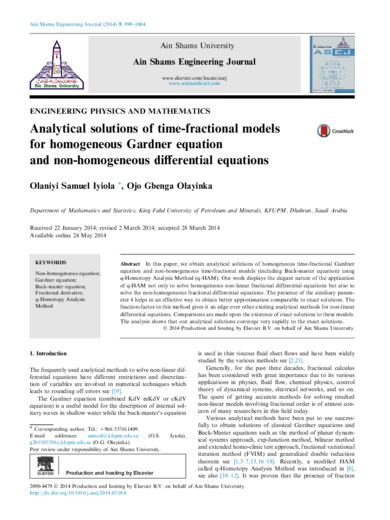 Analytical solutions of time-fractional models for homogeneous Gardner equation and