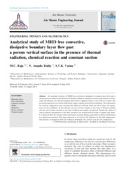 Analytical study of MHD free convective, dissipative boundary layer flow