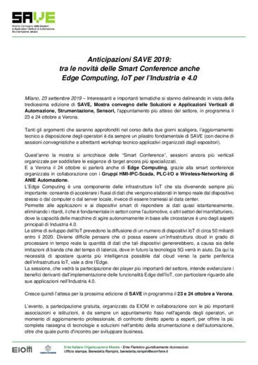 Anticipazioni SAVE 2019:  tra le novità delle Smart Conference