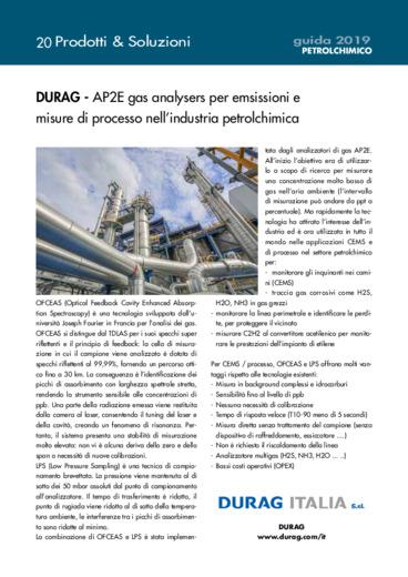 AP2E gas analysers per emsissioni e misure di processo nell?industria