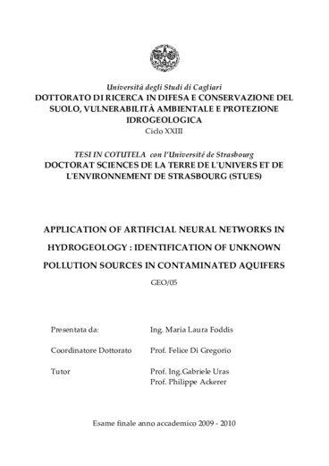 Application of artificial neural networks in hydrogeology