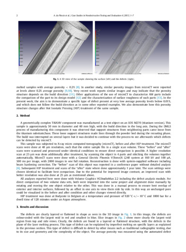 Application of microCT to the non-destructive testing of an additive