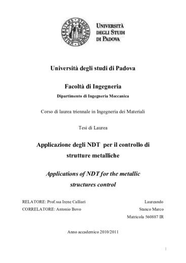 Applicazione degli NDT per il controllo di strutture metalliche