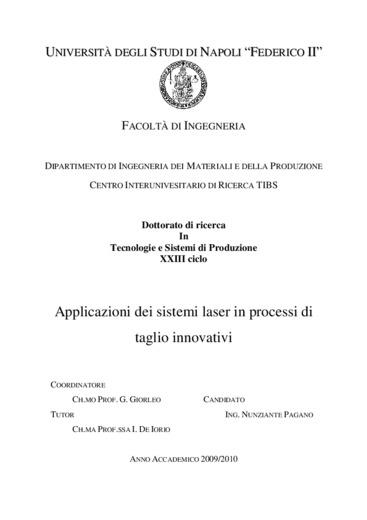 Applicazione dei sistemi laser in processi di taglio innovativi