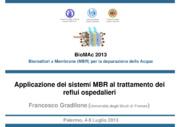 Applicazione dei sistemi MBR al trattamento dei reflui ospedalieri