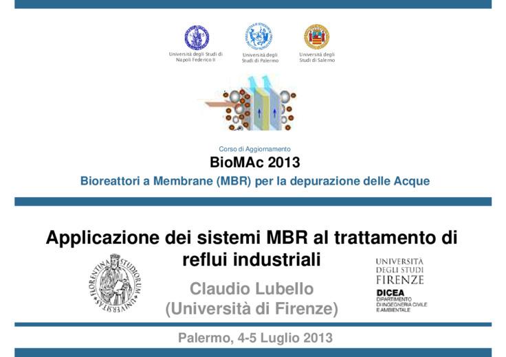Applicazione dei sistemi MBR al trattamento di reflui industriali