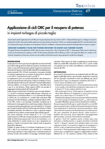 Applicazione di cicli ORC per il recupero di potenza in