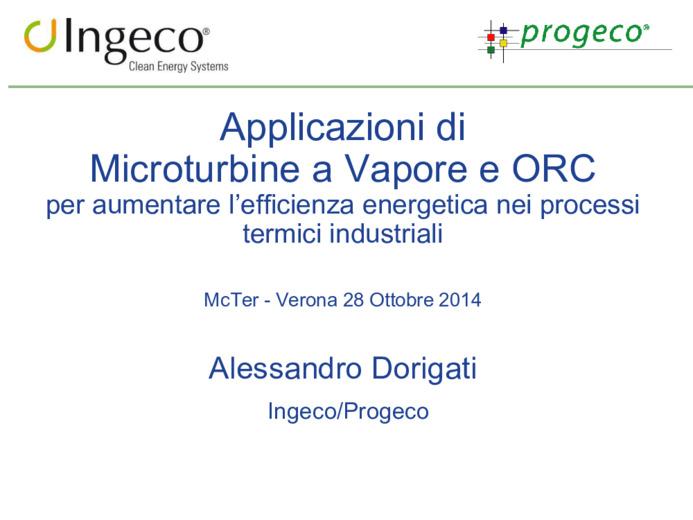 Applicazioni di Microturbine a Vapore e ORC per aumentare l
