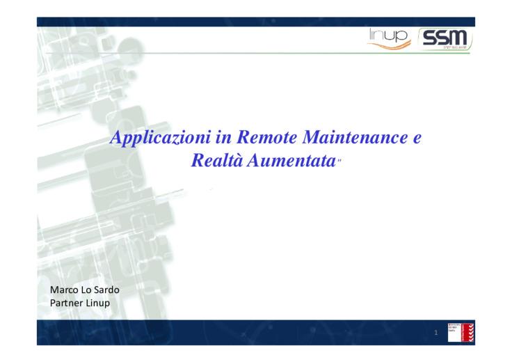 Applicazioni in Remote Maintenance e Realtà Aumentata
