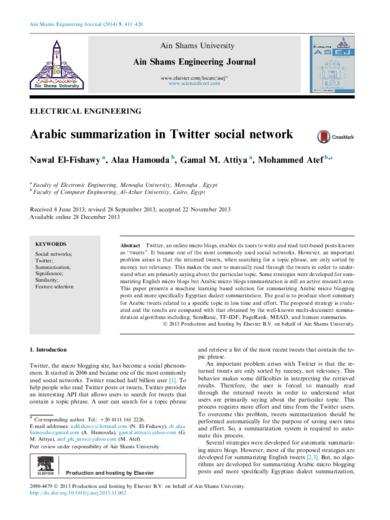 Arabic summarization in Twitter social network