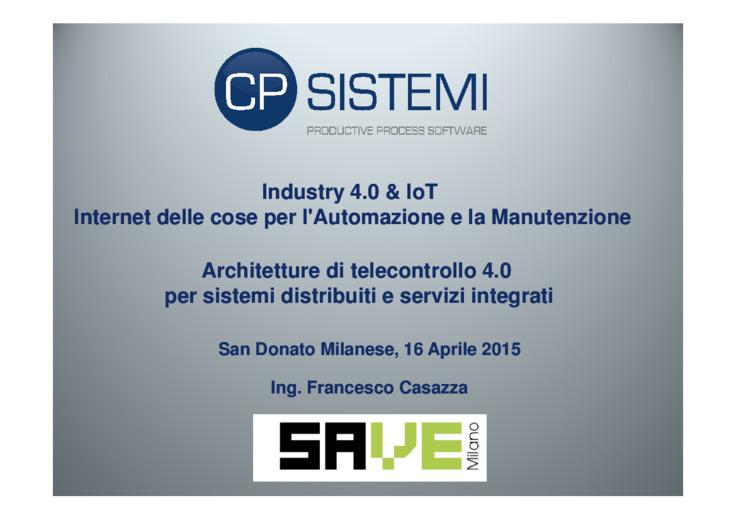 Architetture di telecontrollo 4.0 per sistemi distribuiti e servizi integrati