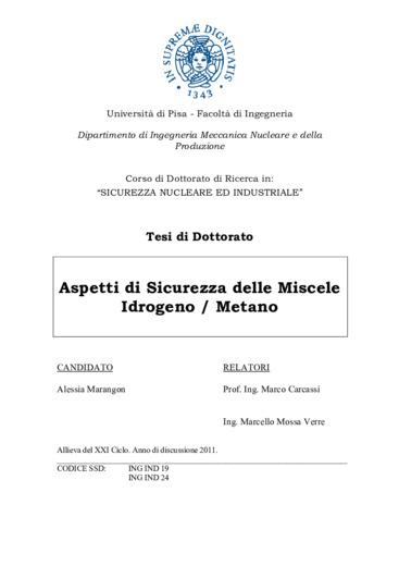 Aspetti di sicurezza delle miscele Idrogeno / Metano