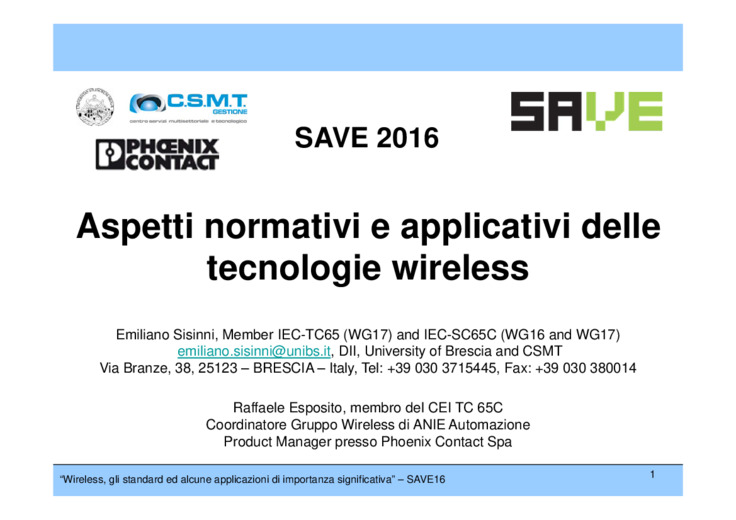 Aspetti normativi e applicativi delle tecnologie wireless